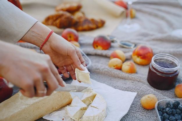 草の上でおいしい健康的な夏のピクニック。ブランセットの果物。