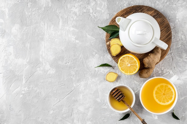Delicious and healthy tea concept with copy space