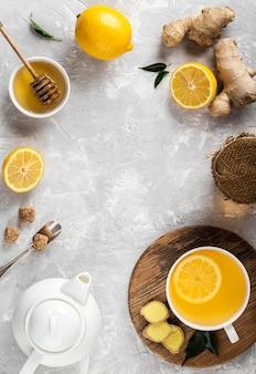 Concetto di tè delizioso e sano con copia spazio
