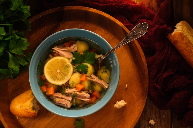 Delicious homemade broth soup