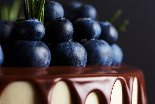 Delicious homemade cake decorated with fresh blueberries on a white wooden stand. dark background. macro.