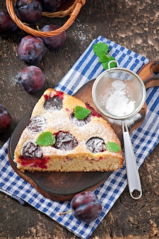 Delicious homemade cake with plums