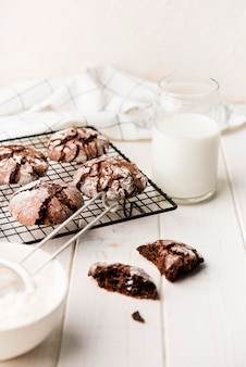 Delicious homemade chocolate cookies with milk
