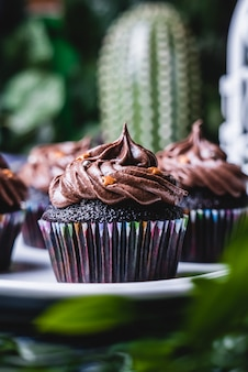 Delicious homemade chocolate muffin cupcake.