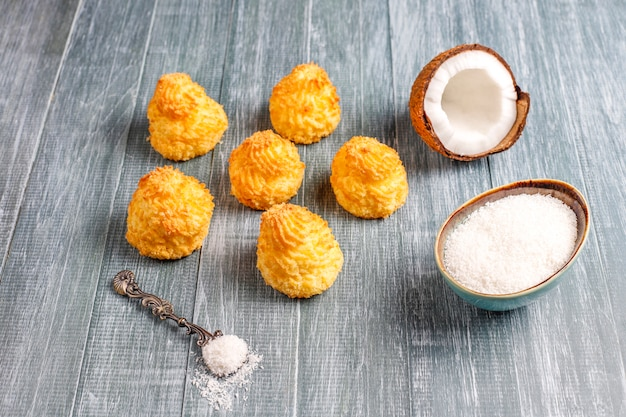 Delicious homemade coconut macaroons with fresh coconut
