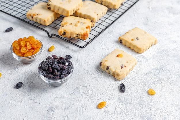 Delicious homemade cookies with raisins.