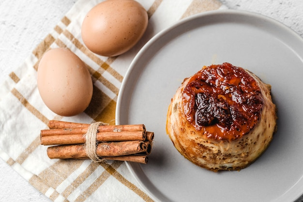 Delicious homemade eggs pudding