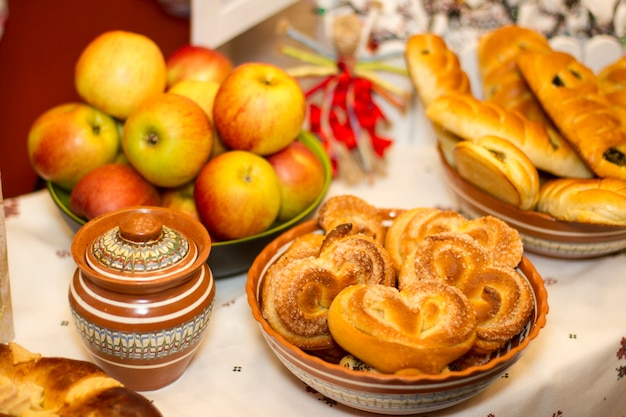 Delicious homemade fresh pastries on the table in bowls,