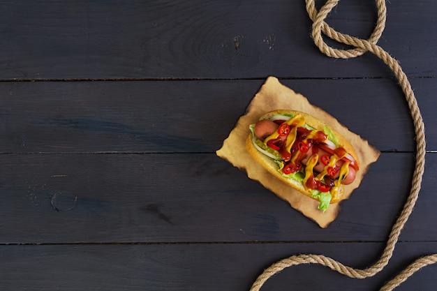 Delicious homemade hot dog