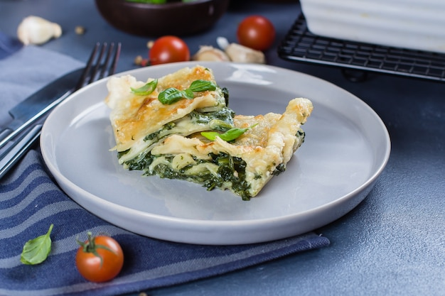 Delicious homemade lasagne with ricotta cheese and spinach. vegetarian food. italian food