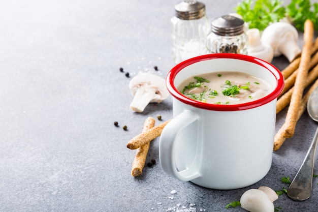 Delicious homemade mushrooms champignons soup with parsley