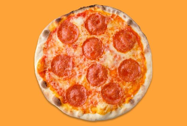オレンジ色のおいしい自家製ピザ。上面図