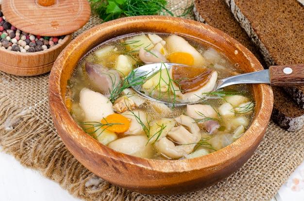 Вкусный домашний суп с лесными грибами. студийное фото.