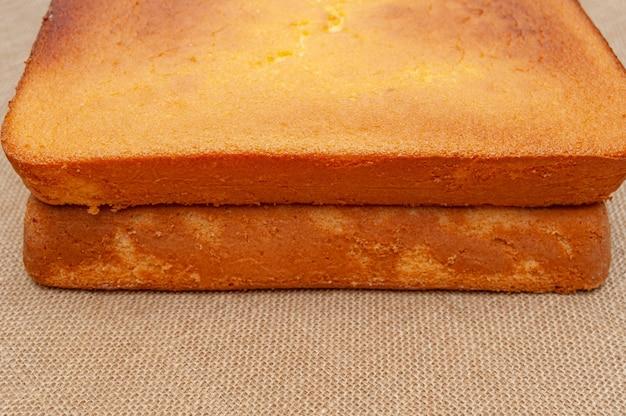 Delicious homemade sponge cake in brazilian portuguese pao de lo