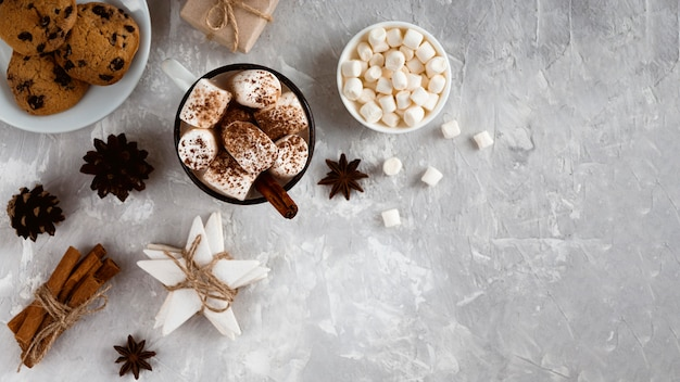 Delicious hot chocolate concept with copy space