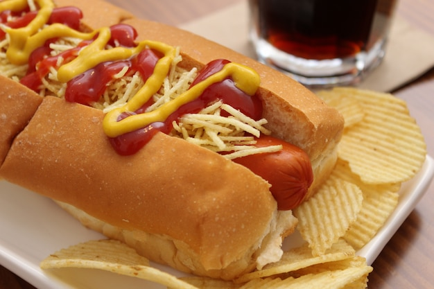 Delicious hot dog with ketchup, mustard and chips