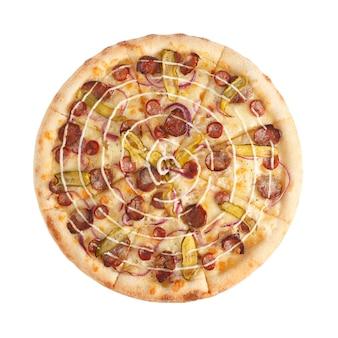 Вкусная острая итальянская пицца с чесночным соусом