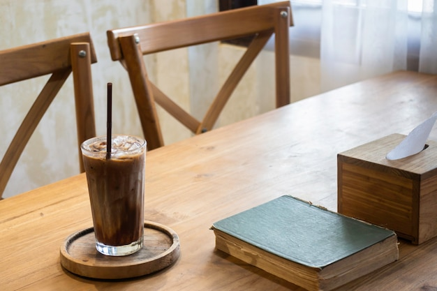 Delicious iced coffee and milk chocolate melt drink