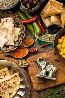 Delicious indian food arrangement