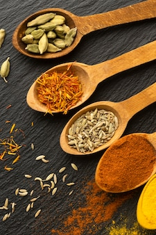 Delicious indian spices arrangement