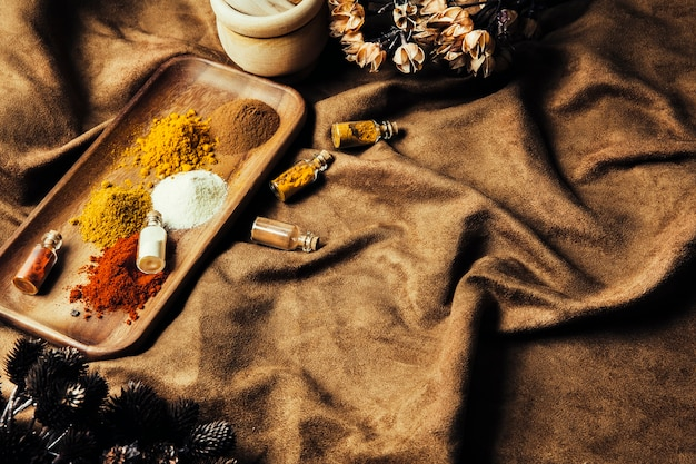 Delicious indian spices on cloth