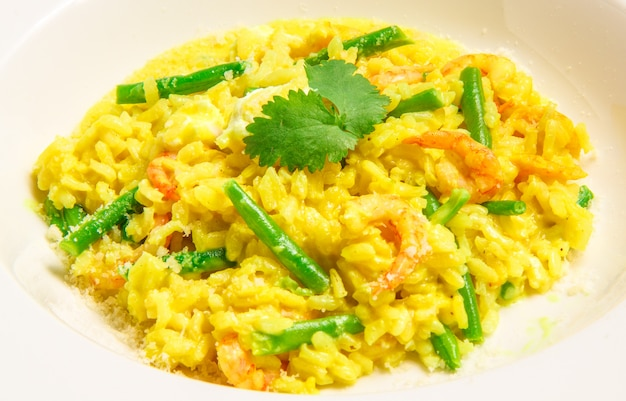 Delicious italian risotto with shrimps