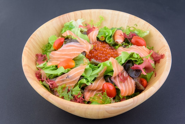 Delicious japanese food in wooden bowl