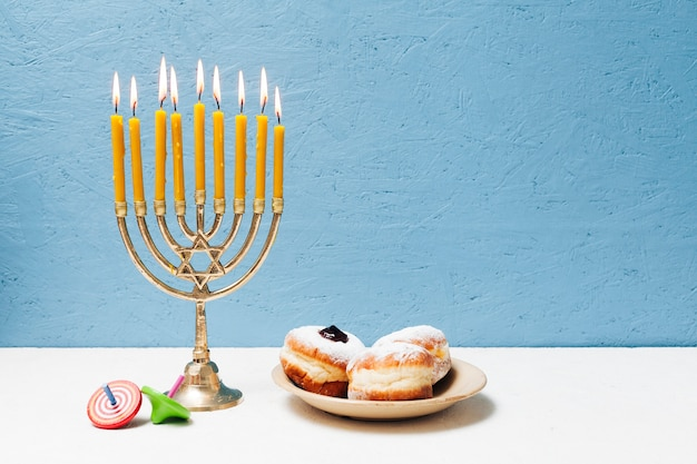 Delicious jewish sweets with menorah
