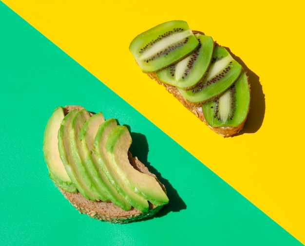 Delicious and juicy sandwich with kiwi and avocado