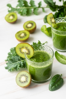 Delicious kiwi green smoothie high angle