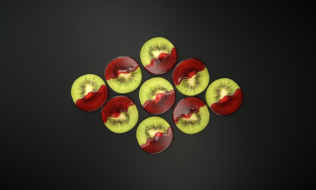 Delicious kiwi slices covered in strawberry marmalade
