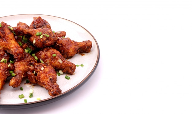 Delicious korean fried chicken on a white background.