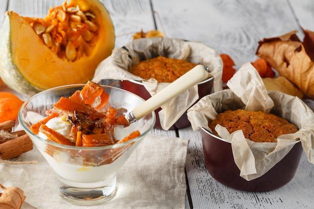 Delicious layered pumpkin dessert with cream, cookies