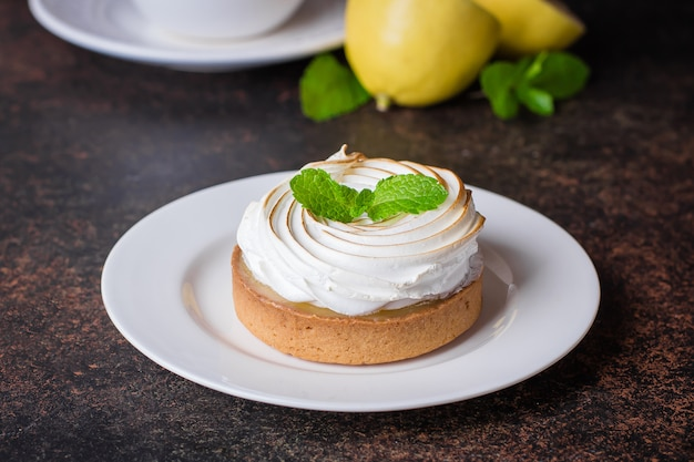 Delicious lemon tart tartlet with merengue