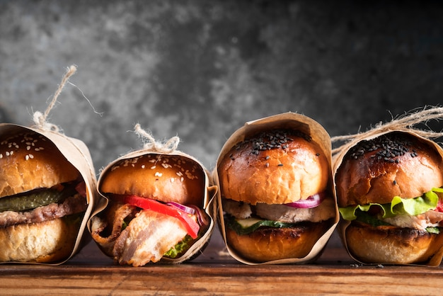 Delicious looking hamburgers arrangement