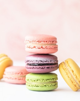 Delicious macarons on table