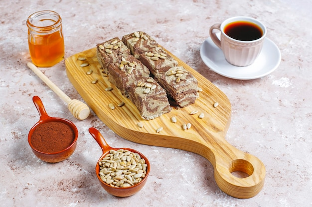 Delicious marble halva with sunflower seeds,cocoa powder and honey