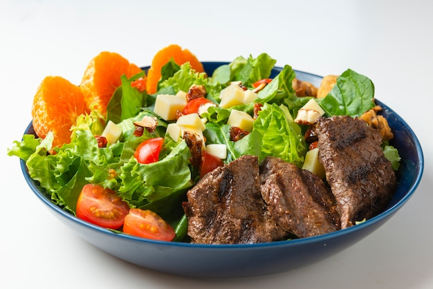 Delicious meat salad with roast beef