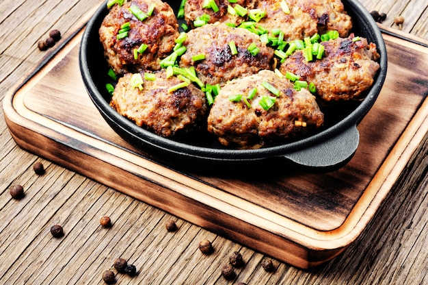 Delicious meatballs in cast iron skillet
