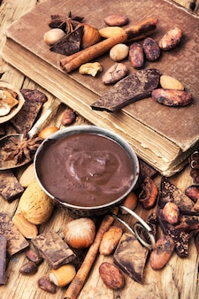 Delicious melted chocolates and spices