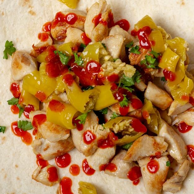 Delicious mexican dish on tortilla