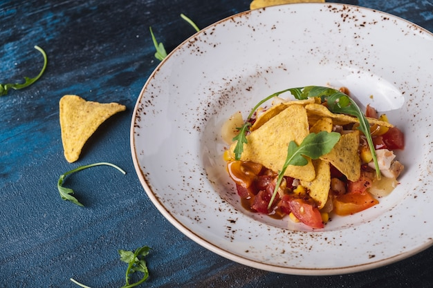 Delicious mexican salad with smoked chicken and corn chips on a plate copy space
