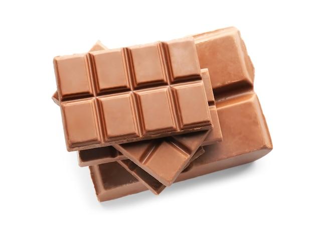 白い表面に美味しいミルクチョコレート