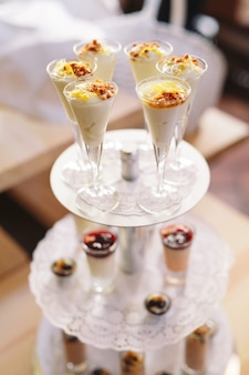 Delicious milk dessert with nuts.