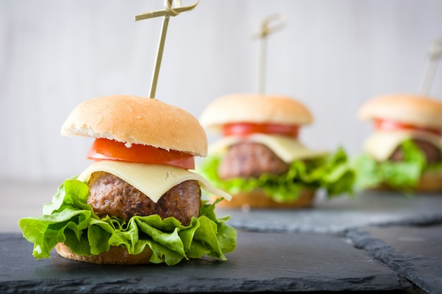 Delicious mini cheese burger with vegetables copy space