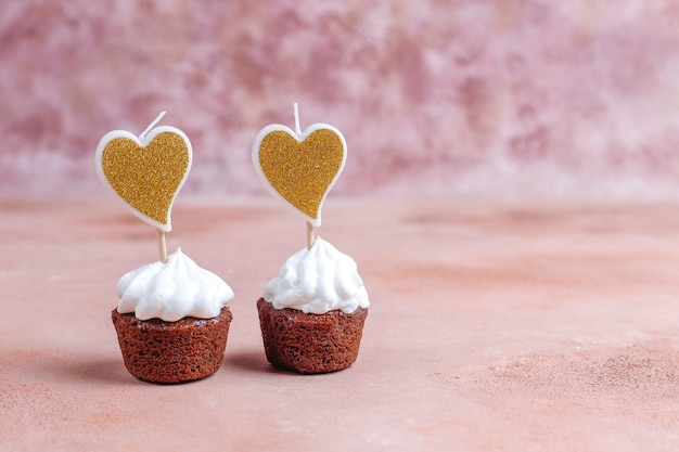 Delicious mini chocolate cupcakes for valentine's day.