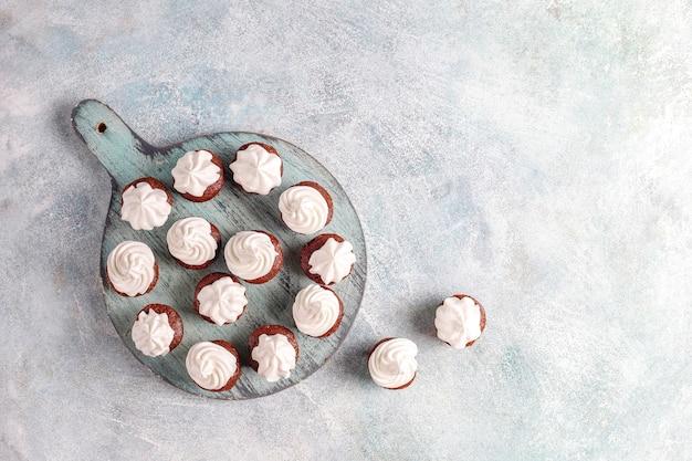 Delicious mini chocolate cupcakes.