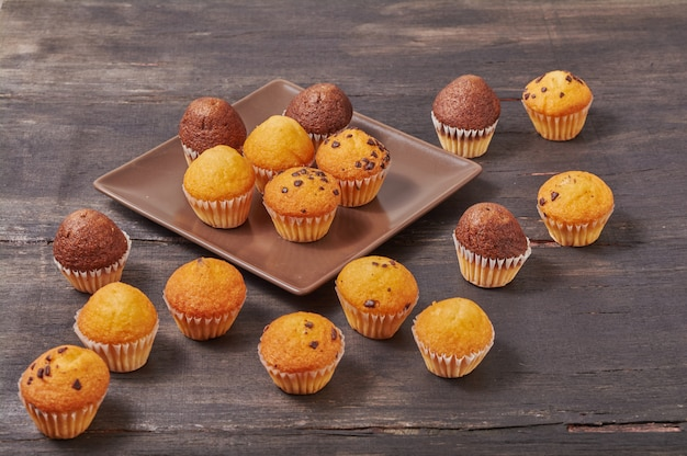 Delicious mini chocolate flavor muffins for breakfast