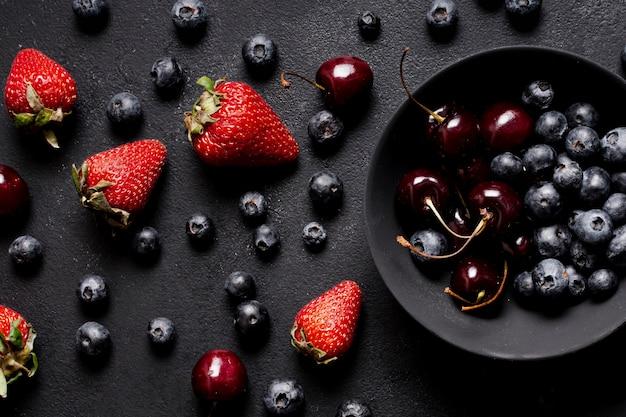 Delicious mixed fruits flat lay