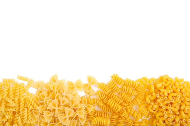 Delicious mixed pasta isolated on a white background